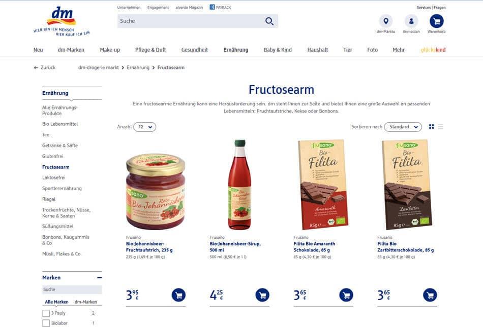 onlineshop von dm mit fruktosefreien produkten fruktoseintoleranz. Black Bedroom Furniture Sets. Home Design Ideas