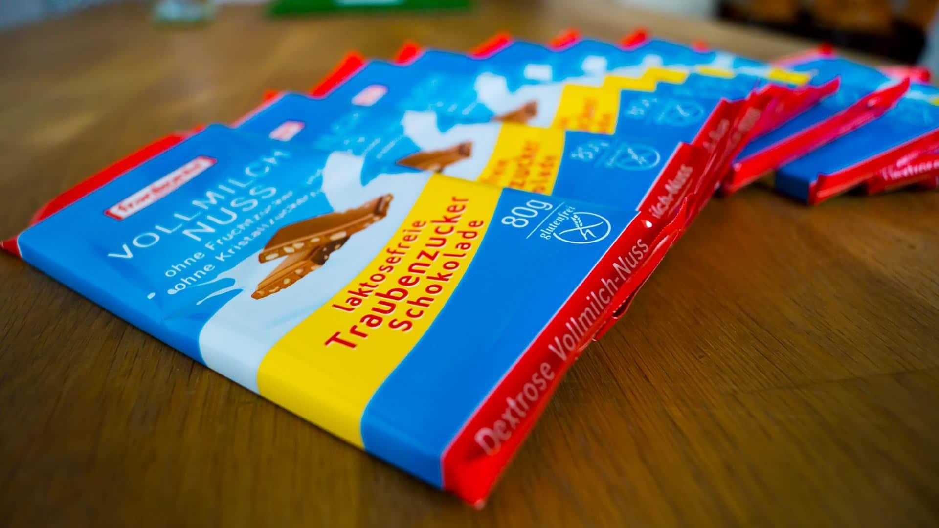 laktosefreie Traubenzucker Schokolade Vollmilch Nuss von Frankonia